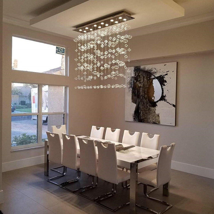 Rectangle Bubble Chandelier Flush Mount Ceiling Light - Dining room