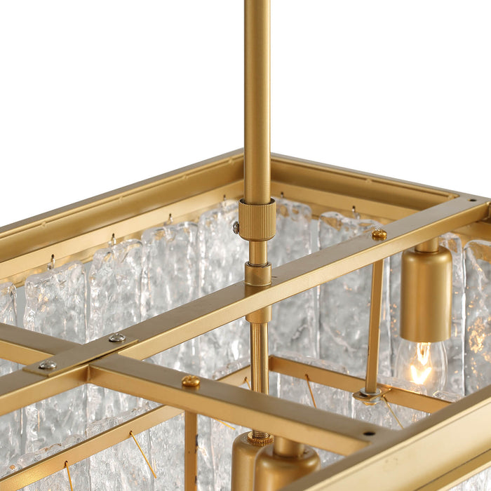 Rectangle Crystal Chandelier With Gold Frame Detail-1