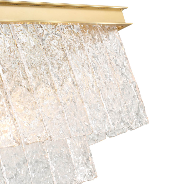 Rectangle Crystal Chandelier With Gold Frame Detail-2
