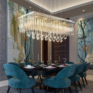 Rectangle Crystal Chandelier with Frosted Crystal Rods