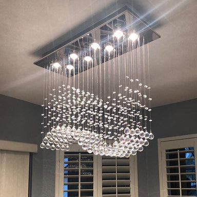 Rectangle Wave Rain Drop Clear LED K9 Crystal Chandelier