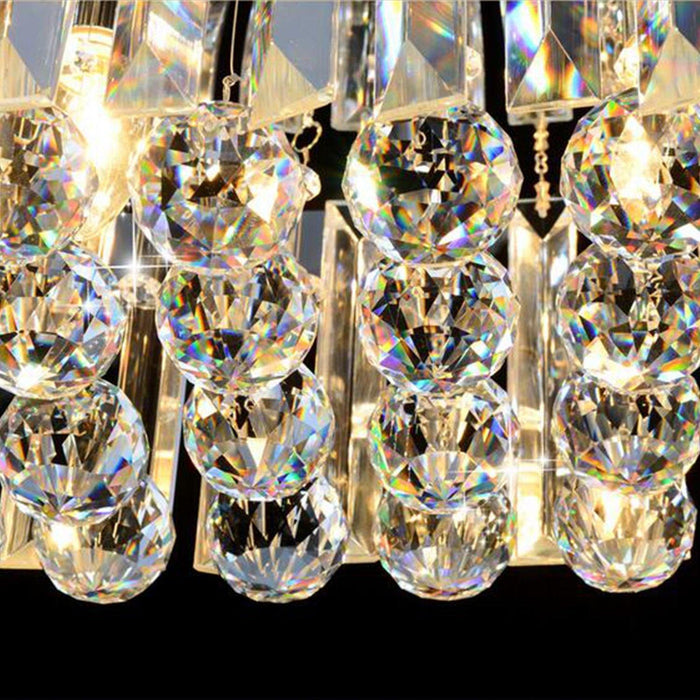 Rectangular Chandelier with Triangle Crystal Bars - Details