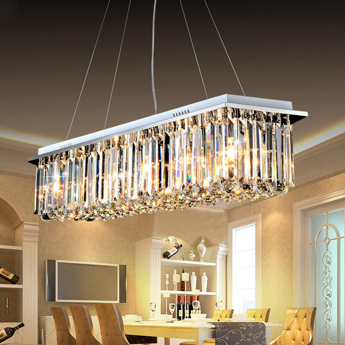 Rectangular Chandelier with Triangle Crystal Bars - Dining room