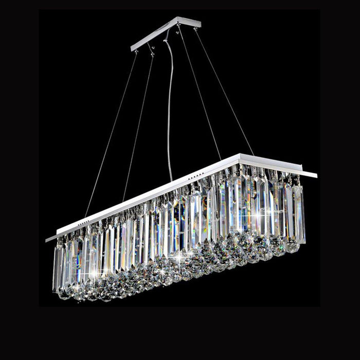 Rectangular Chandelier with Triangle Crystal Bars