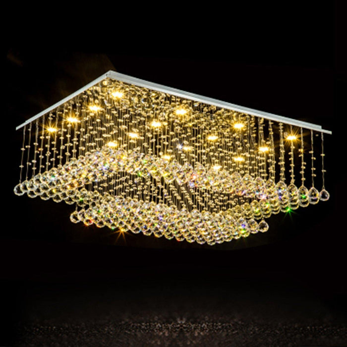 Rectangular Crystal Chandelier Double Layer Ceiling Light