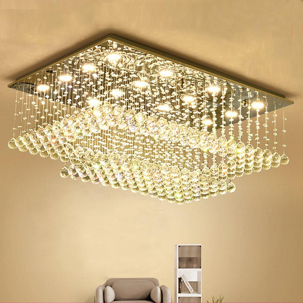 Rectangular Crystal Chandelier Double Layer Ceiling Light - Living room