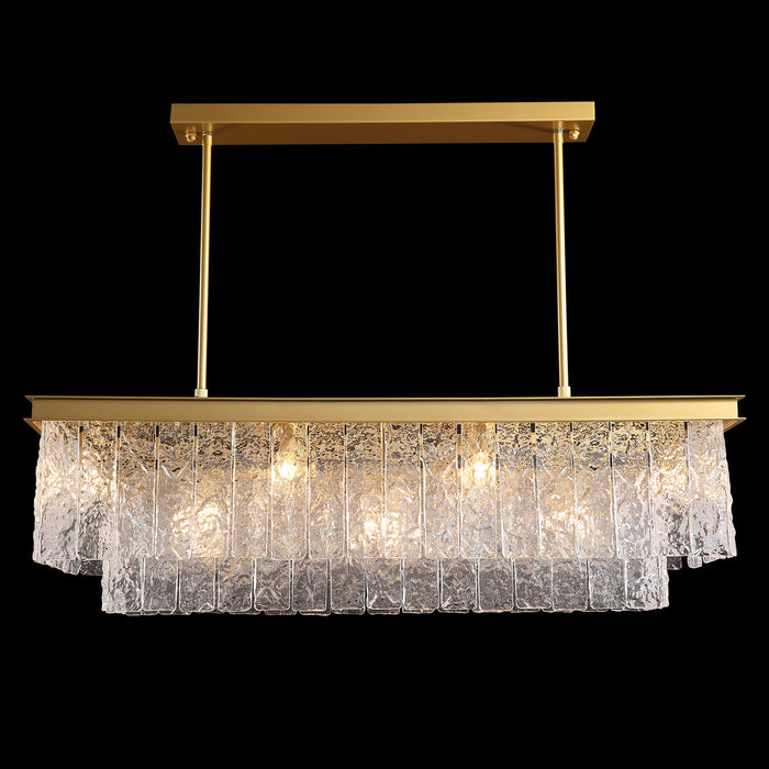Rectangular Crystal Chandelier Positive Display Black Background