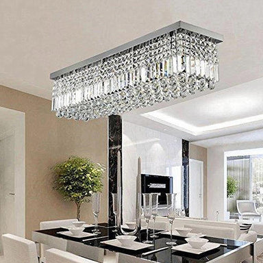 Rectangular Rain Drop Crystal Chandelier Flush Mount