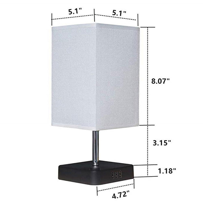 Rectangular Rustic Table Lamp with Acrylic Base for Bedroom, 1 Lights - Dimension