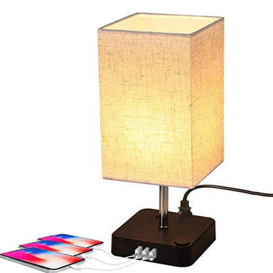 Rectangular Rustic Table Lamp with Acrylic Base for Bedroom, 1 Lights