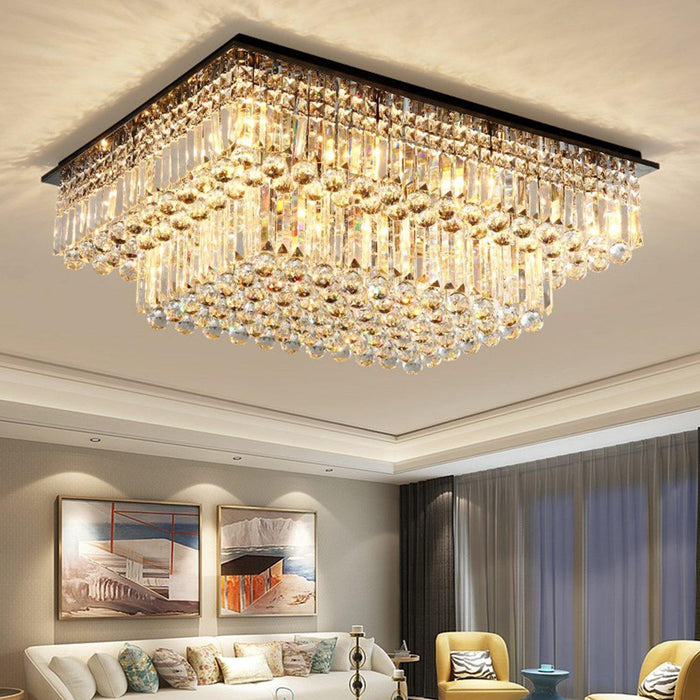 Rectangular Tiered Crystal Chandelier