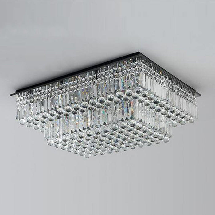 Rectangular Tiered Crystal Chandelier Light Off