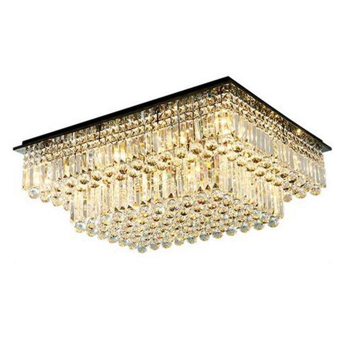 Rectangular Tiered Crystal Chandelier Light On