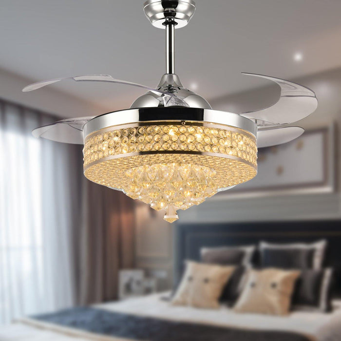 "Crystal Fan with Invisible Blades and Dimmable Lights, 42"" Chrome"