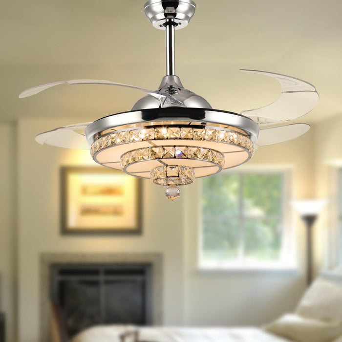 "Crystal Chandelier Fan with Lights and Retractable blade, 42"" Chrome"