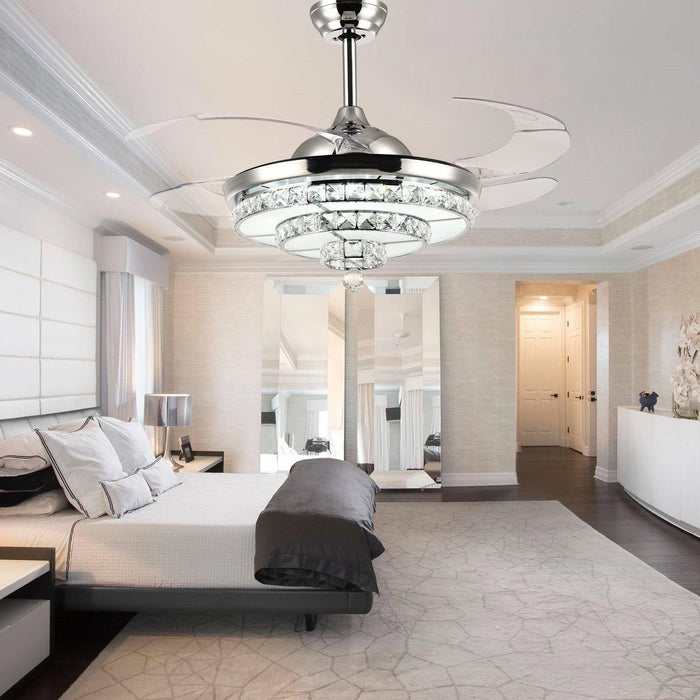 "Crystal Chandelier Fan with Lights and Retractable blade, 42"" Chrome - Bedroom"