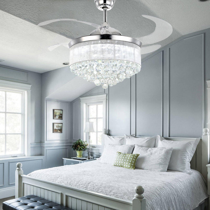 "Retractable Crystal Chandelier Fan with Dimmable Light, 42"" Chrome - Bedroom"