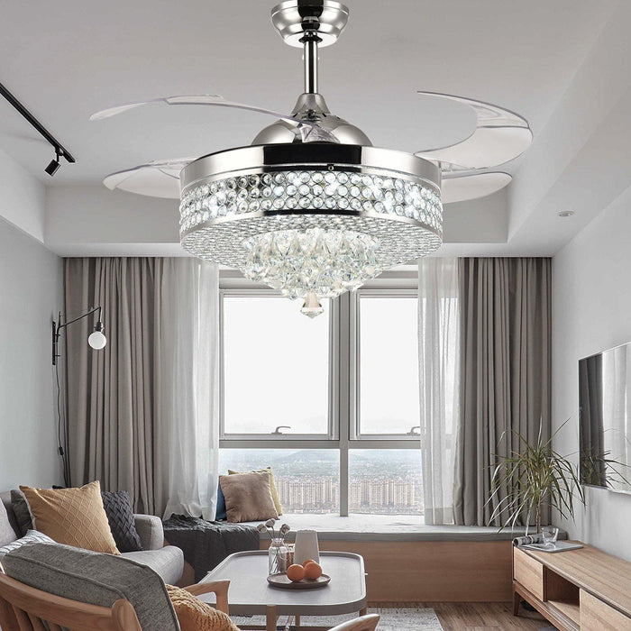 "Crystal Fan with Invisible Blades and Dimmable Lights, 42"" Chrome - Living Room"
