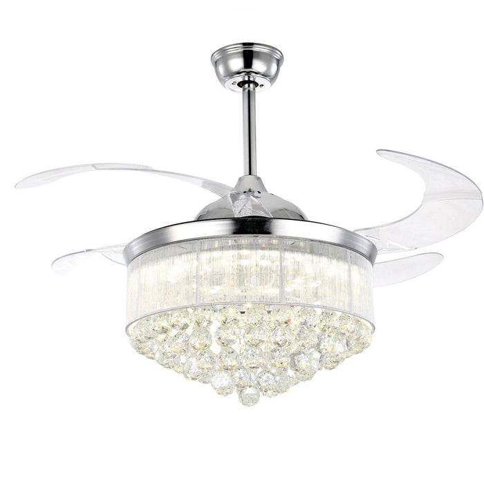 "Retractable Crystal Chandelier Fan with Dimmable Light, 42"" Chrome"