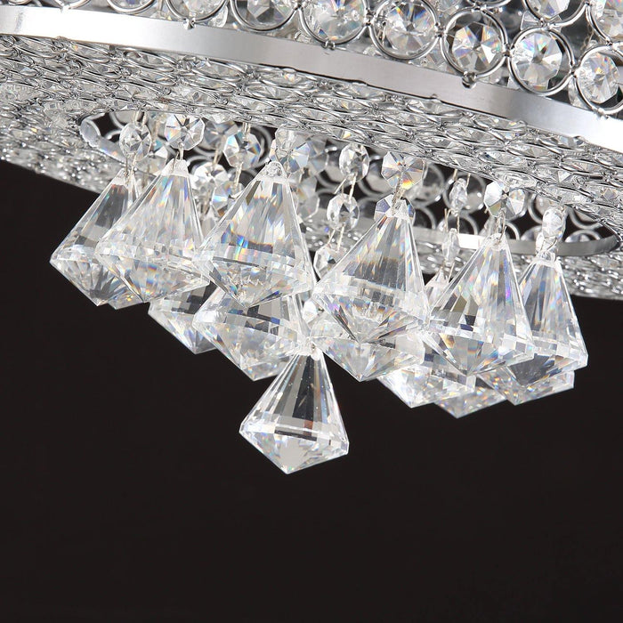 "Crystal Fan with Invisible Blades and Dimmable Lights, 42"" Chrome - Details"