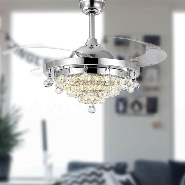 "Retractable Ceiling Fan Light with Crystals, 36"" Chrome"