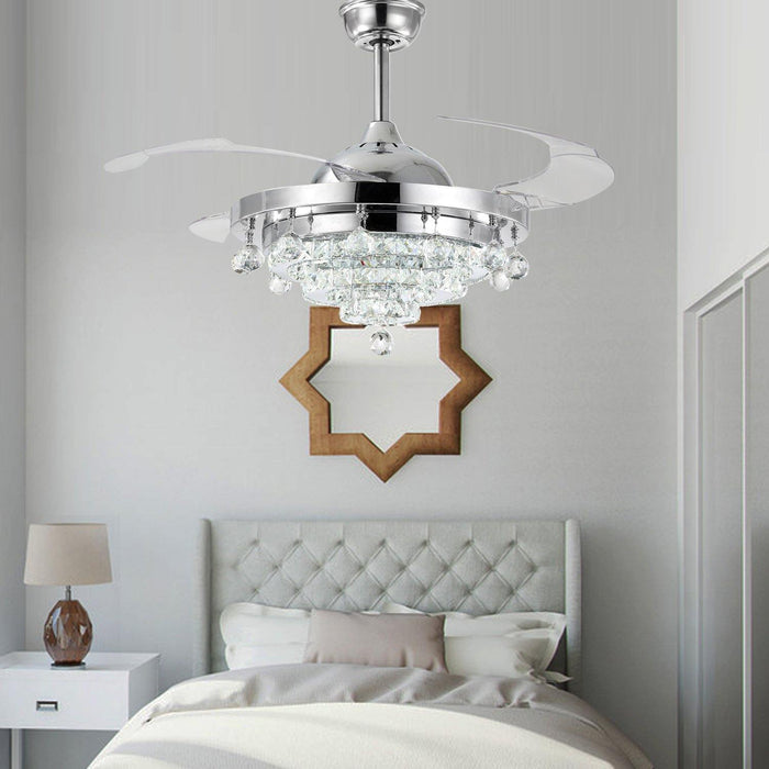 "Retractable Ceiling Fan Light with Crystals, 36"" Chrome - Bedroom"