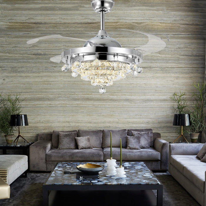 "Retractable Ceiling Fan Light with Crystals, 36"" Chrome - Living room"