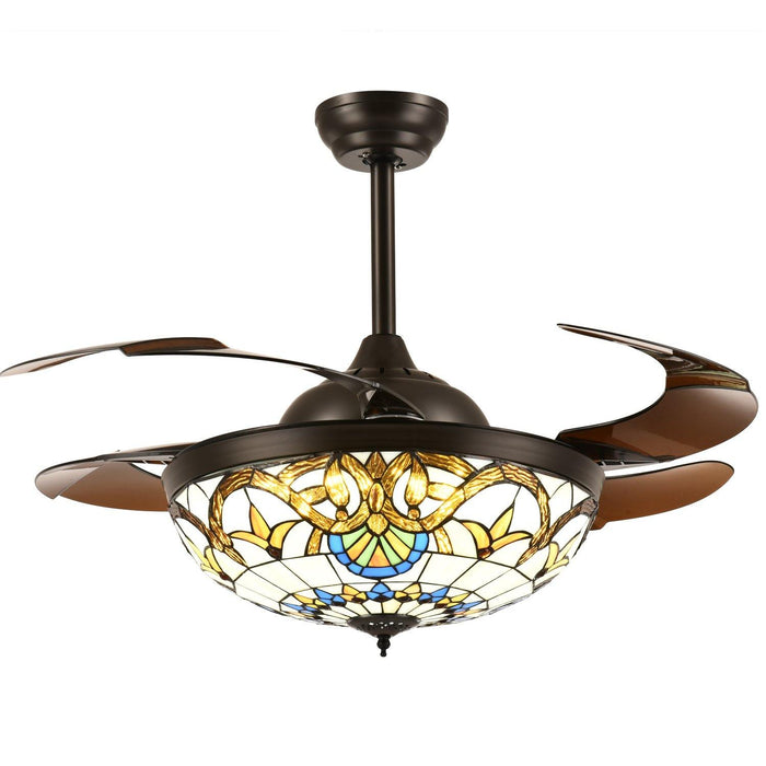 "Tiffany Style Retractable Ceiling Fan with Lights, 42"" Brownan"