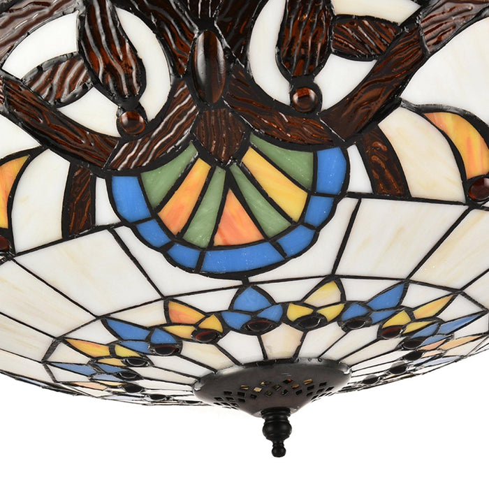 "Tiffany Style Retractable Ceiling Fan with Lights, 42"" Brown - Details"