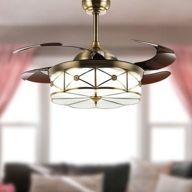 "Modern Retractable Ceiling Fans with Light, 42"" Bronze"