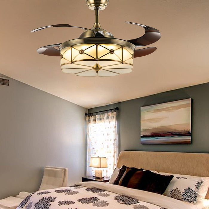 "Modern Retractable Ceiling Fans with Light, 42"" Bronze - Bedroom"
