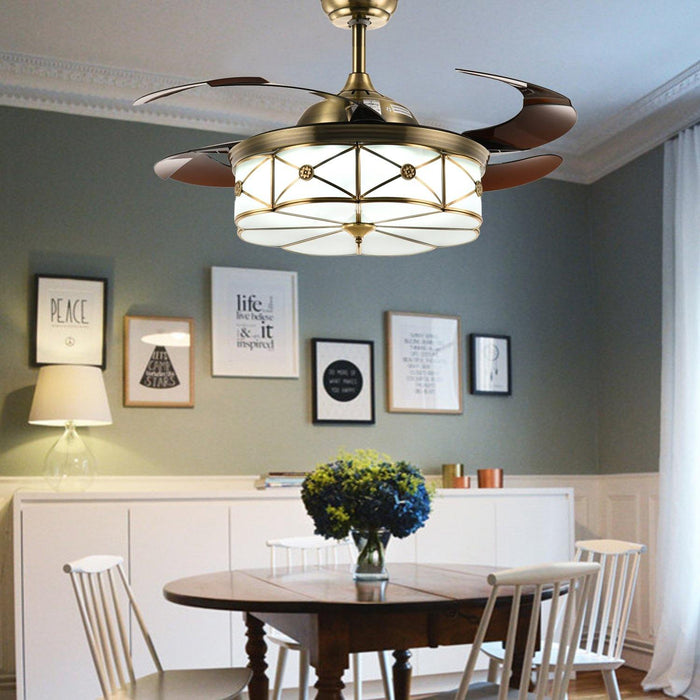 "Modern Retractable Ceiling Fans with Light, 42"" Bronze - Dining Room"