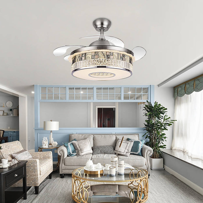 Retractable Chandelier Ceiling Fan For Living Room