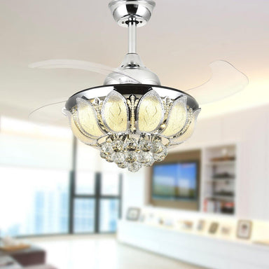 Crystal Chandelier Fan with Light and Retractable Blades Chrome/Black