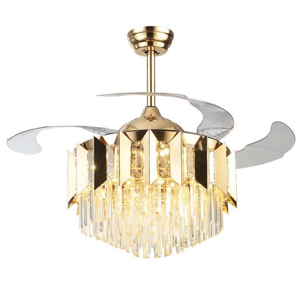 Retractable Chandelier Fan with LEDs and Crystal