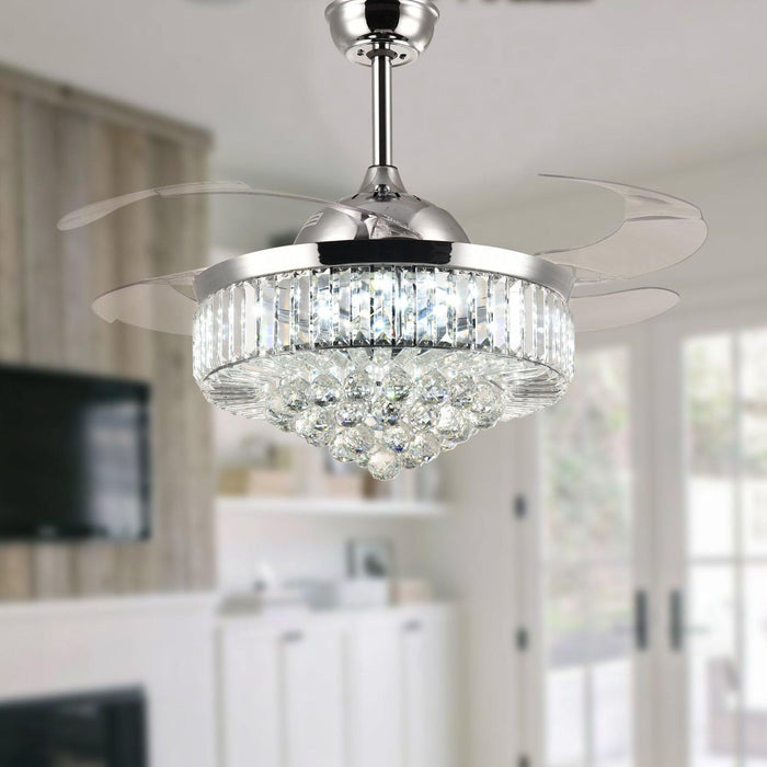 "Retractable Crystal Ceiling Fan with Dimmable Light, 42"" Chrome"