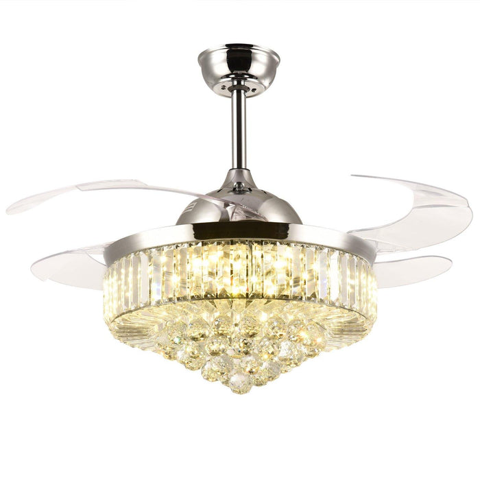 "Retractable Crystal Ceiling Fan with Dimmable Light, 42"" Chrome - Warm light"