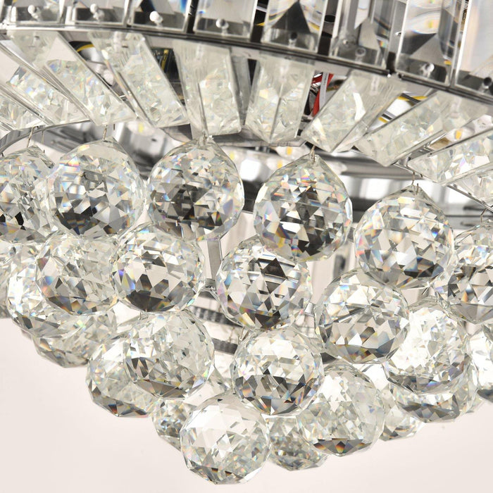 42 Inch Chrome Retractable Crystal Ceiling Fan with Dimmable Light Crystal Details