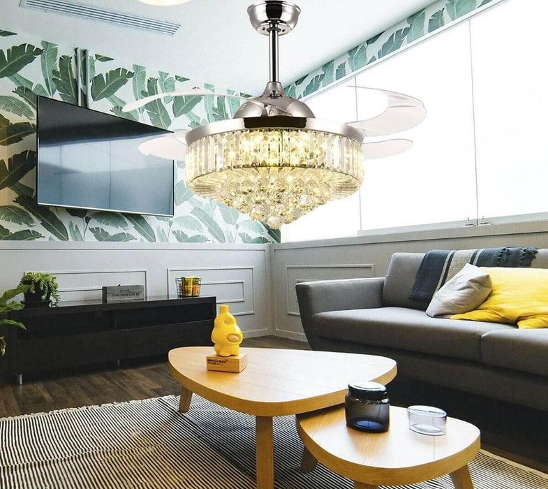 Retractable Crystal Chandelier Ceiling Fan with  Light Chrome-Living Room