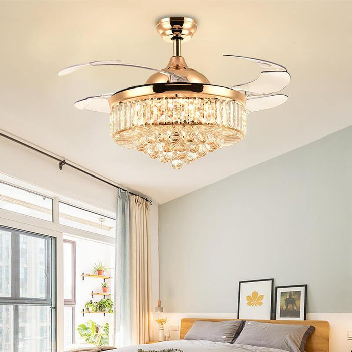 Retractable Crystal Chandelier Fan with Lights Gold Bedroom