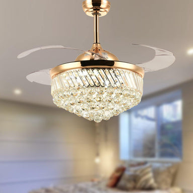 Retractable Crystal Fan with Dimmable Led Light, 36 Gold