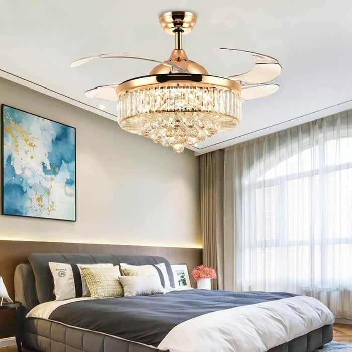 Retractable Crystal Fandelier with Dimmable Lights Gold Bedroom