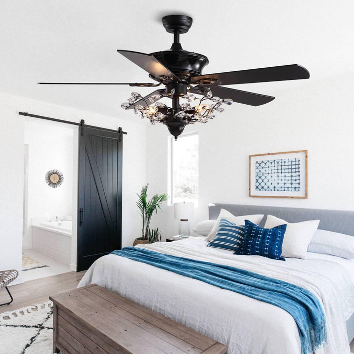 Reversible Ceiling Fan Combo with Crystal For Bedroom