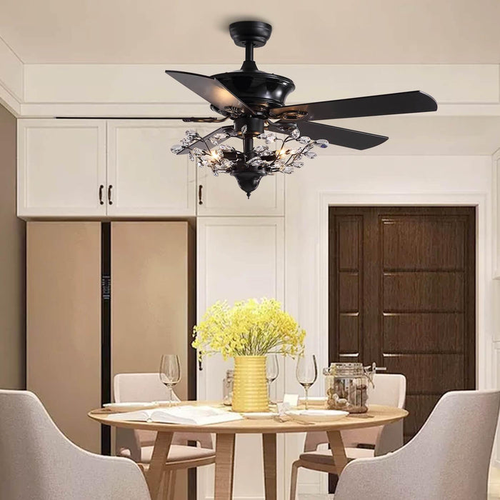 Reversible Ceiling Fan Combo with Crystal For Dining Room