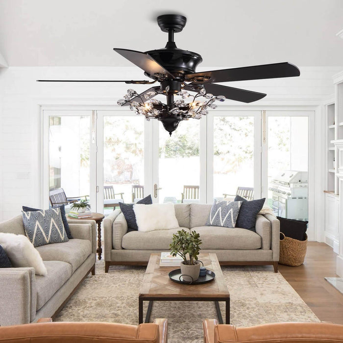Reversible Ceiling Fan Combo with Crystal For Living Room