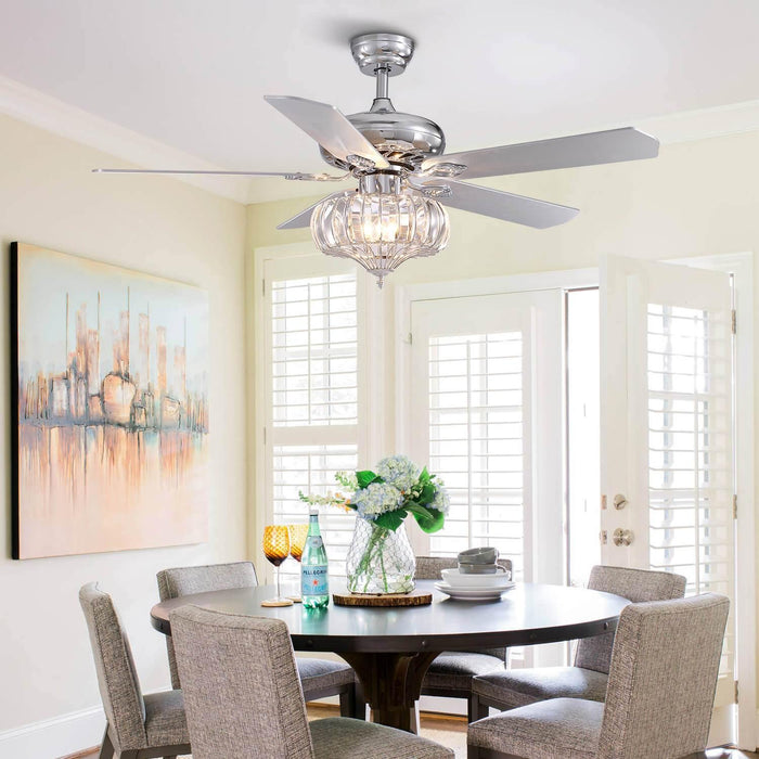 Reversible Ceiling Fan with Crystal Shade For Dining Room