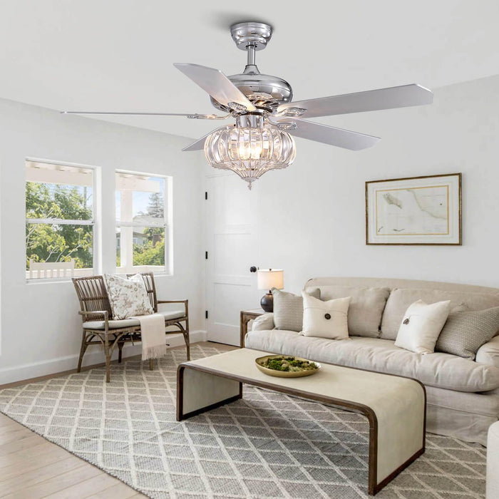 Reversible Ceiling Fan with Crystal Shade For Living Room