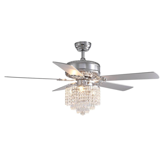 Reversible Ceiling Fan with Crystal and Wood Blades