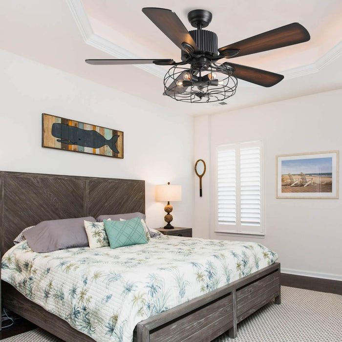 Reversible Ceiling Fan with Industrial Design For Bedroom