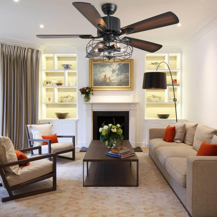 Reversible Ceiling Fan with Industrial Design For Living Room